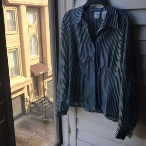 Baby blue and black striped button down blouse